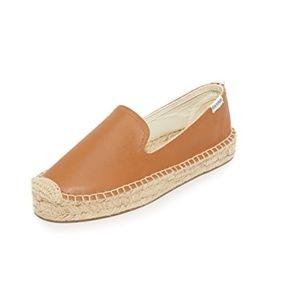 Soludos Tan Leather Smoking Slipper Size 9